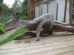 Wooden sculpture on the deck