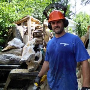 Aaron Laux, building the Serpentine Bench
