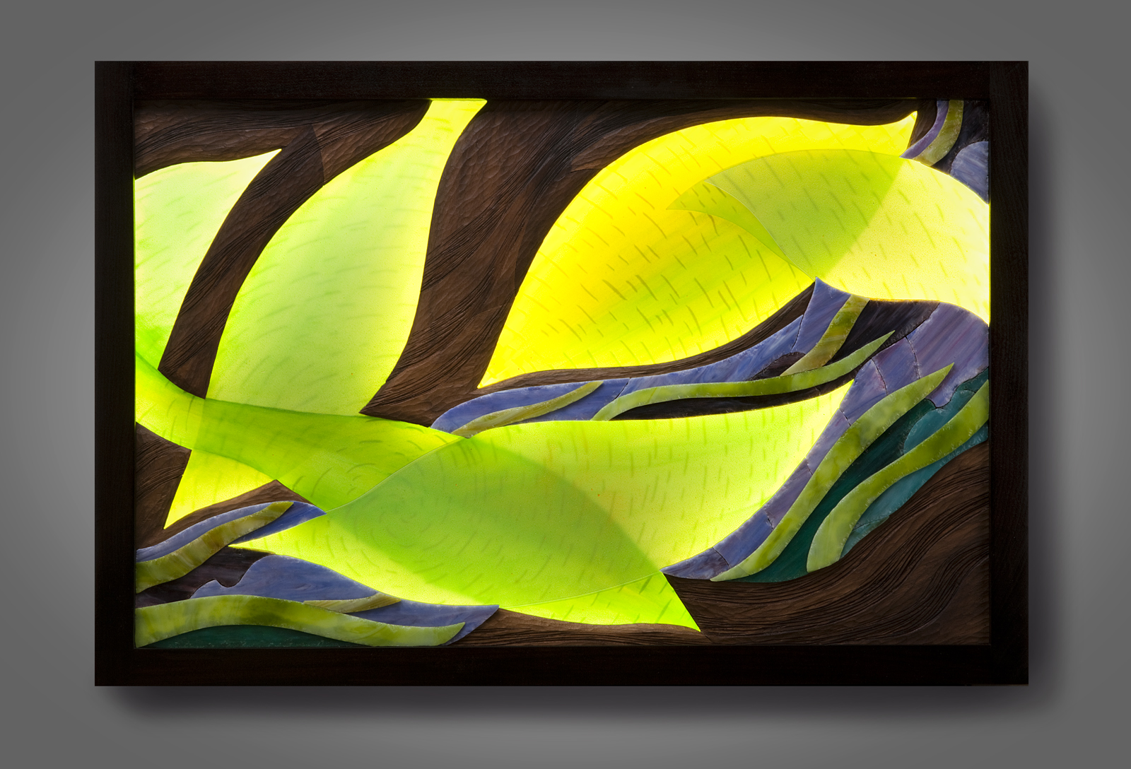 Luminous Leaf Patterns lighted wall piece