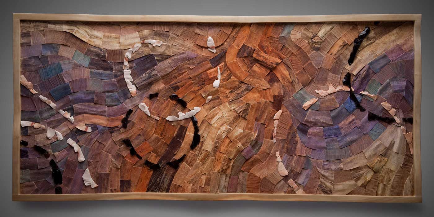 Traces in Stone wall art, Cherry, boxelder, flint and obsidian